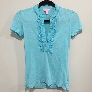 Lilly Pulitzer ruffle front top aqua gold buttons